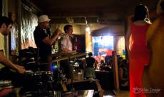 The whole band at The Wine Therapist, in collaboration with Damon K. Clark