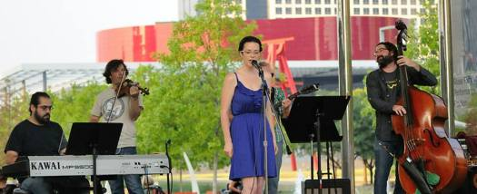 The whole band at Klyde Warren Park, at Classical Open Mic's July 4th event